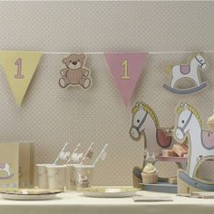 This stunning paper bunting is perfect for a boys first birthday. With cute rocking horses and flags with the number 1 on in blue and yellow, it's perfect for that birthday party. in length and 14 assorted flags 1st Birthday Party Themes, Birthday Bunting, Baby 1st Birthday, Birthday Party Decorations, Cake Decorations, Pink Bunting, Paper Bunting, Rock A Bye Baby, Party Supplies