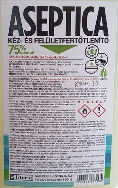 Bio Cleaner Aseptica kéz- és felületfertőtlenítő 5 liter - Aseptica kéz- és felületfertőtlenítő folyadék Bio Cleaner - Bio tisztítószerek, környezetbarát tisztítósterek, öko tisztítószerek - Bio-Cleaner Kft, Orgalco bio tisztítószerek Alcohol