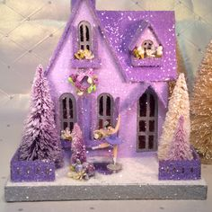 Figure Skate Putz House in Lavender with Bottlebrush Trees(large) by glitteratmidnight on Etsy https://www.etsy.com/listing/574068824/figure-skate-putz-house-in-lavender-with