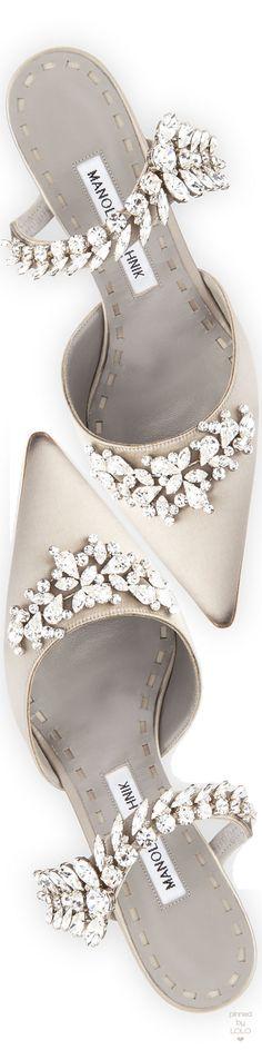 Manolo Blahnik Lurum Crystal-Embellished Mule Pumps