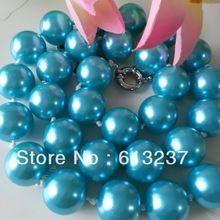Mode hemelsblauw shell 14mm klassieke kunstmatige parel ronde kralen hot koop collier choker sieraden maken 18 inch MY4727(China)