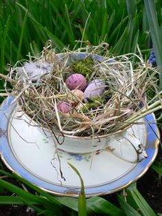 Absolutely gorgeous. - Bird nest teacup wedding favours
