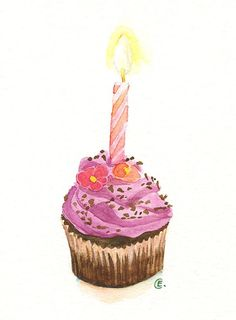 Cupcake 38 - Original Watercolor Painting 8x6 inches
