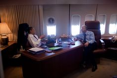 President Obama meets with Interior Secretary Ken Salazar aboard Air Force One during a flight to Denver, Col., Feb. 17, 2009