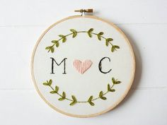 Custom Monogram Embroidery Hoop Art, Hand Embroidered Initials, Unique Wedding Gift, Gifts For Couples, Custom Wedding Sign