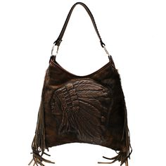b2fae0ea2434 American Indian Chief Head Logo in leather with hair-on-brindle hide and  leather fringe. Janine Rice Reasner · Western Chic Handbags
