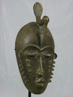 Beautiful African Tribal Mask, Yaure/Yohure Bronze Mask Collectible African Mask