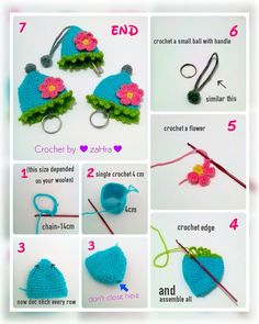 crochet key cover,step by step tutorial.  Enjoy it ;-) ♥