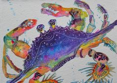 Vibrant Watercolor Crab  Original by ErikaJohnsonGallery on Etsy, $17.50