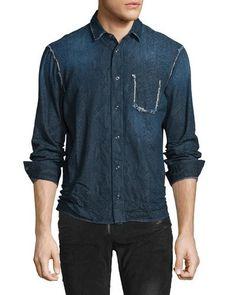 N3Z1K Just Cavalli Denim Snakeskin-Textured Shirt, Navy