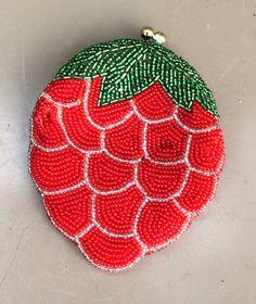 vintage beaded strawberry purse 1960s snaptop handmade by mkmack
