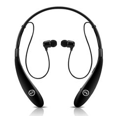 New Sport Neckband Hands-free Headsets Headphones , Wireless Stereo Bluetooth Earphones Earbuds with APTX , Noise Reduction , Echo Cancellation , Voice Guidance , Sweat-proof for iPhone 6 6 plus 5 5s 4 4s , Samsung Galaxy S5 S4 Note 3 4 and Other Smart Phones (Black)