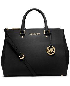 MICHAEL Michael Kors Sutton Large Satchel Saffiano Leather Black Handbag Designer Fashion
