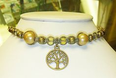 Golden Slumbers Tree of Life  Hemp Necklace  by sherrishempdesigns