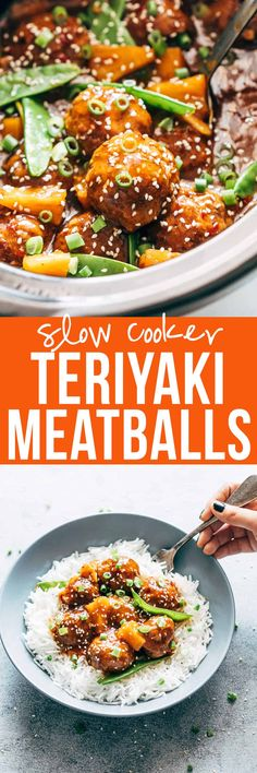 Crockpot Teriyaki Meatballs | Teriyaki Pineapple Meatballs | Asian Meatballs | Japanese Meatballs | Slow Cooker Dinner Recipes | Easy Recipes | Beef Meatballs | Pork Meatballs | Meatballs and Noodles | Meatballs and Rice