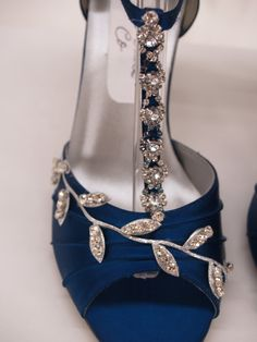 Blue Wedding Shoes Royal Blue with Silver Swarovski Crystals