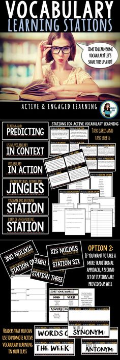 Learning Stations Make vocab learning an active - and fun - process with learning stations.Make vocab learning an active - and fun - process with learning stations. Vocabulary Instruction, Teaching Vocabulary, Vocabulary Activities, Teaching Strategies, Teaching Tips, Teaching Reading, English Activities, Science Stations, Learning Stations