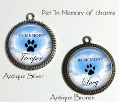 Personalized Pet Memorial Charm - Custom Pet Loss necklace or keychain by NowThatsPersonal