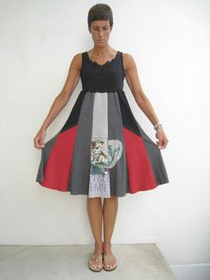 Oh-Zie does a fantastic job recycling t-shirts! Tank Top T Shirt Dress / M / Black Gray Red / Comfortable by ohzie