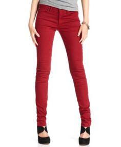 Else Jeans, Skinny Red-Wash Colored Denim $50, macys