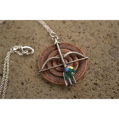 Robin Hood Necklace, Hunger Games Necklace, Merida Necklace, Brave... ($13) ❤ liked on Polyvore featuring jewelry, necklaces, chain necklace, green pendant, rhinestone pendant necklace, rhinestone necklace and bow necklace