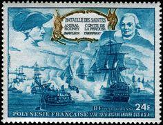 Battle of the Saintes, April 9-12, 1782: Admirals Sir George Rodney in Barfleur, and Comte de Lapérouse in Triomphant.