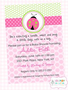 Pink Ladybug Baby Shower Printable Invitation, Personalized Girl Baby Shower Invite, Ladybug Baby Shower Invite on Etsy, $13.50
