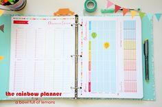The Rainbow Planner. planner printables kit from A Bowl Full of Lemons Organization Skills, Home Organisation, Paper Organization, Planner Pages, Life Planner, Printable Planner, Printables, Happy Planner, Planning Menu