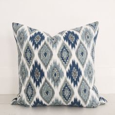 Blue diamond ikat & natural linen cushion cover - designer cushion 50 x 50 cm - FREE SHIPPING Australia wide by VilladeLuxeBoutique on Etsy https://www.etsy.com/listing/239204458/blue-diamond-ikat-natural-linen-cushion