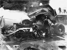 After a slower driver squeezed him into a railing at the end of lap one, he car quickly burst into flames. Pedro would expire shortly after being extracted from the car. Le Mans, Sport Cars, Race Cars, Porsche 914 6, F1 Crash, Lorenzo Bandini, Singapore Grand Prix, Formula 1 Car, Road Racing