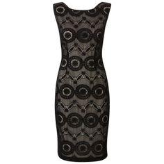 Organza jurk met borduurwerk Zwart