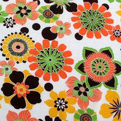 Orange Green Big Floral Cotton Jersey Knit Fabric