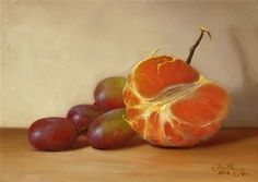 """Daily Paintworks - """"Tangerine Half with Grapes"""" by Faith Te"""