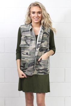 Military Babe Camouflage Vest {Olive}