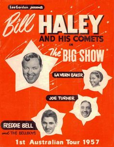 """""""Bill Haley - Australian Tour Wonderful Vintage Concert Poster Art Print sold by Andromeda Print Emporium. Shop more products from Andromeda Print Emporium on Storenvy, the home of independent small businesses all over the world. Vintage Concert Posters, Vintage Posters, Barber Shop Vintage, Bill Haley, 50s Rock And Roll, Concert Flyer, Tour Posters, Movie Posters, Rock N Roll Music"""