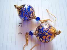 Colbalt Blue Venetian Earrings  Covered with  24 by DiansEarrings, $26.95