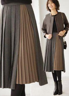 異素材配色プリーツスカート