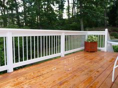 This wood stain deck would look gorgeous next to a yard that has lots of trees. Deck Railings, Deck Design, Looking Gorgeous, Sweet Home, New Homes, Backyard, Porches, Decks, Landscape