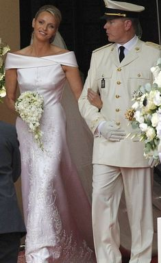 Charlene Wittstock married Prince Albert of Monaco in a custom Giorgio Armani Prive gown. Opting for a more modern bridal look, the gown was made of silk duchesse satin with floral embroidery and Swarovski crystals in the front.
