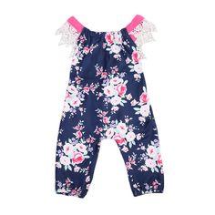Baby Girls Clothes Infant Baby Girls Lace bandage Romper Clothes Floral Lace Backless Jumpsuit Bodysuit Sun-suit