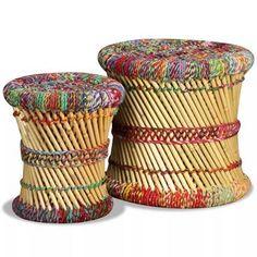 Scaunele de dimensiuni diferite sunt deopotrivă elegante și practice. Designul lor exotic va face ca aceste taburete să devină punctul de atracție al oricărui spațiu de locuit. Aceste scaune sunt realizate din bambus cu detalii colorate chindi și degajă un farmec natural. Ele sunt ideale pentru a vă odihni picioarele după o zi grea la lucru sau pentru a fi utilizate ca mese laterale, pe care puteți plasa obiecte decorative precum coșuri cu fructe, vaze sau băuturi și gustări. Picioarele… Storage Stool, Day Work, Decorative Items, Decoration, Weaving, Snacks, Detail, Chair, How To Make