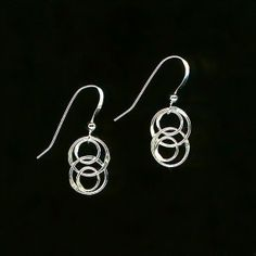 Wire Circle Silver Link Earrings Sterling Chain Hammered Wirework Metal Jewelry Modern Minimalists Design