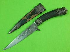 RARE Antique 19 Century German Germany Waidmannsheil Fancy Hunting Dagger Knife