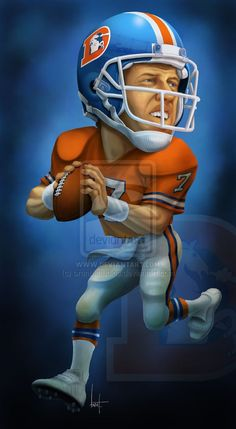 It's been a long time since I've done sports caricature work.but thought I would have some fun here. I picked the throwback Broncos uniforms because their colors really pop and make for good dram. Denver Broncos Logo, Denver Brocos, Denver Broncos Wallpaper, Go Broncos, Broncos Fans, Broncos Memes, Broncos Players, Broncos Gear, Nfl Football