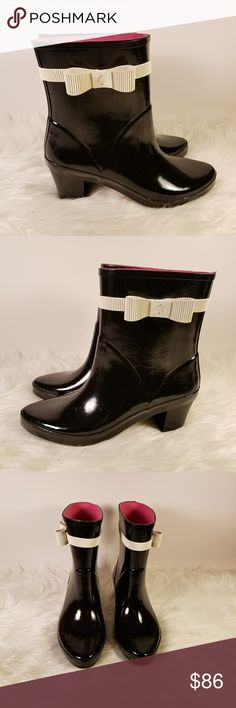 """NWB Kate Spade Paloma Black Mid Calf Rain Boots This is a pair of Kate Spade Paloma rubber rain boots.  Features:  - iconic bow with Kate Spade logo spade in center  - approximately 1 3/4"""" heel   - approximately 6 1/4"""" shaft (measured at side)  - removable logo cushioned insole New, unworn boots, minor surface marks are from manufacturer or store, includes original box.  6txxadii/gj kate spade Shoes Winter & Rain Boots"""