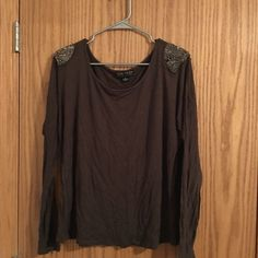 Forever 21 - Beaded shoulder top Beaded detail - olive green - long sleeve top. Slightly worn. Forever 21 Tops Tees - Long Sleeve