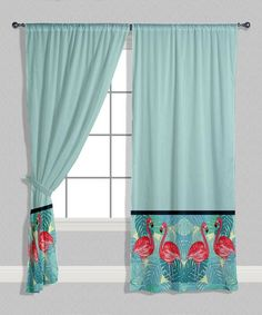 Loving this Light Blue & Pink Flamingo-Trim Curtain Panel - Set of Two on #zulily! #zulilyfinds