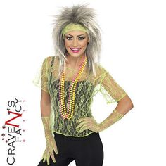 80s neon green lace vest top & #gloves fancy dress #costume hen do #party new,  View more on the LINK: 	http://www.zeppy.io/product/gb/2/172248070242/