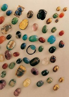 Ancient Egyptian scarab collection. We love gems, jewelry and history at Renaissance Fine Jewelry in Vermont. www.vermontjewel.com