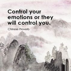 Control your emotions or they will control you. Chinese proverb.